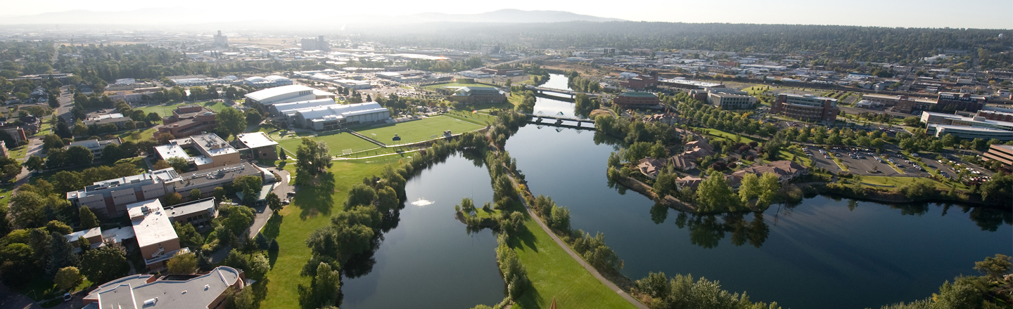Birds eye view of Spokane River and Gonzaga campus.