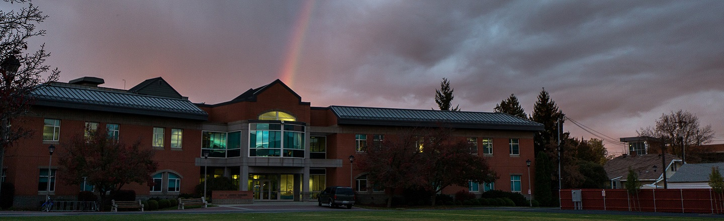 Rainbow over the Rosauer building