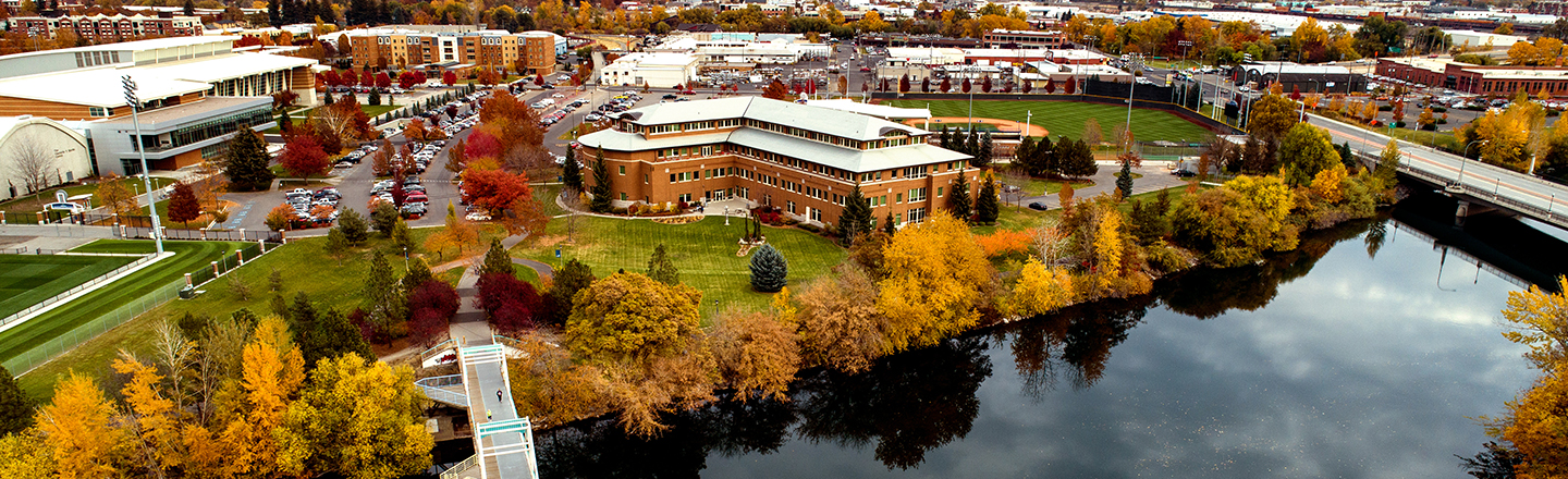 Aerial of Gonzaga University campus taken as autumn leaves fall