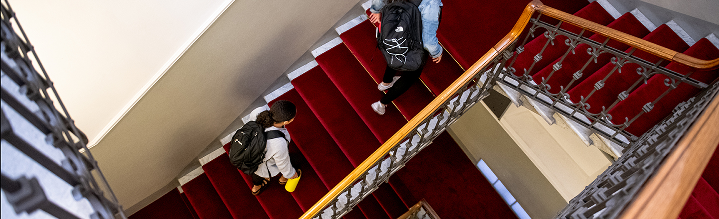 Students climbing a staircase.