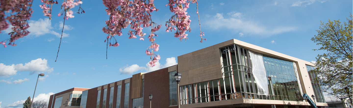 Spring time in front of Hemmingson Center.