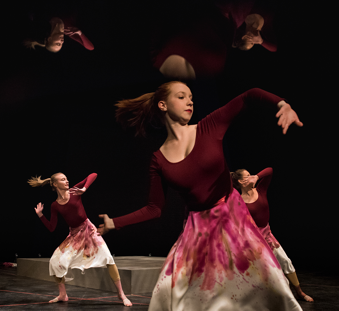 "The Gonzaga University Repertory Dance Company in its debut performance of ""Beautiful Weapons."" Biology Professor Brook Swanson narrates his research. (GU photo by Zack Berlat)"