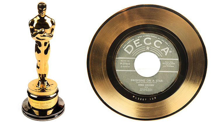 an Oscar award and a platinum record belonging to Bing Crosby