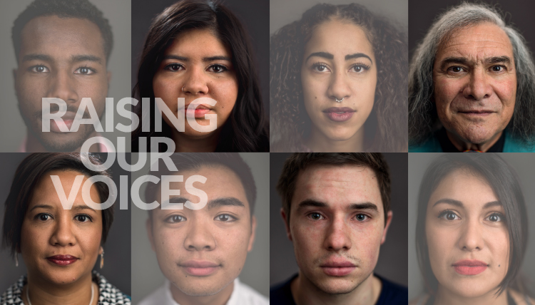Faces of various Gonzaga students, faculty and staff with the text 'Raising our Voices'
