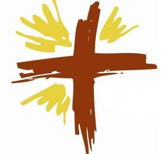 brown and yellow cross logo of Rostro de Cristo
