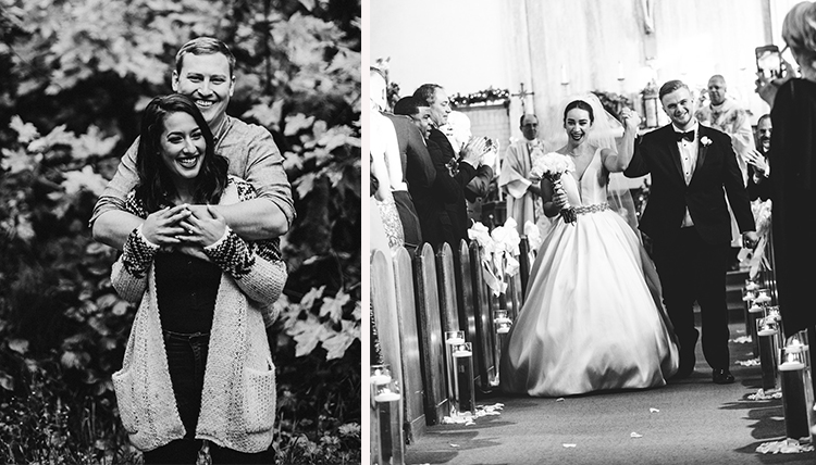 two grad couples in black and white wedding images