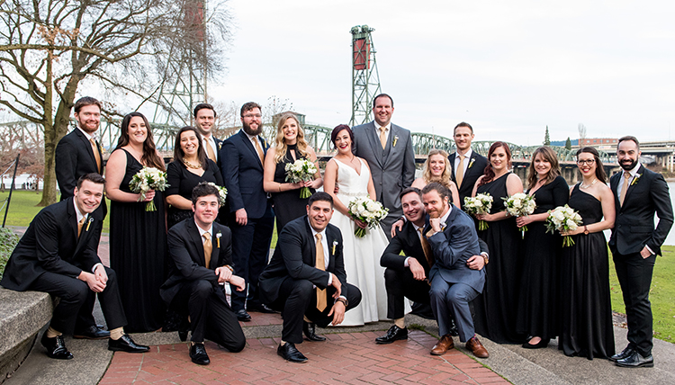 grads tarzwell and kornberg wed with large bridal party