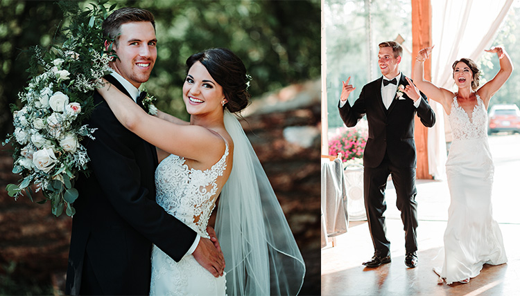 couple posed outdoors and dancing into reception