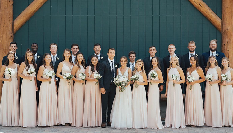 Kevin Pangos and Katie Pennington wedding with several Zag Basketball players