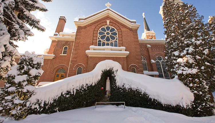 Gonzaga's St. Aloysius Church in snow