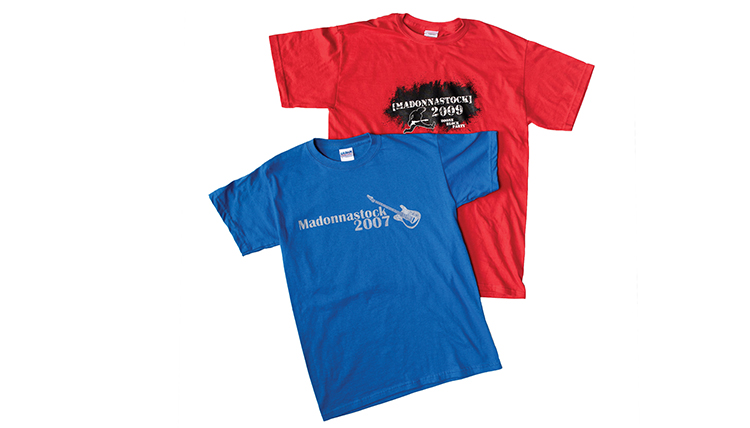 blue and red tshirts from Madonnastock
