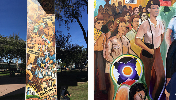 San Diego Chicano Park historical mural about immigration