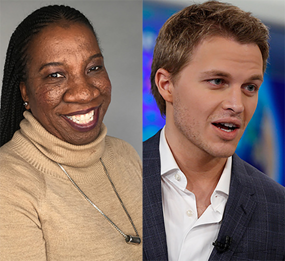 (from left) Tarana Burke and Ronan Farrow