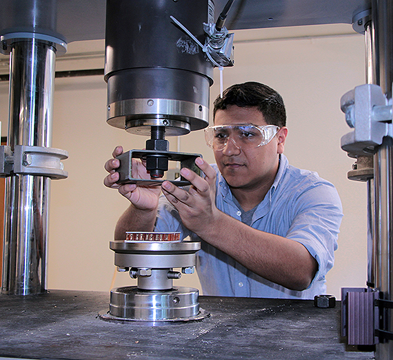 Cesar Ortiz Rios in the materials lab at the Gonzaga University School of Engineering and Applied Science. Credit Janean Schmidt
