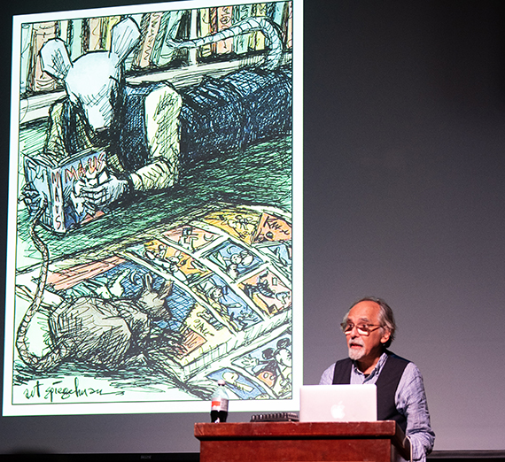 Art Spiegelman at Gonzaga University Visiting Writers Series Event on Sept. 25, 2018. Photo by Amanda Ford.
