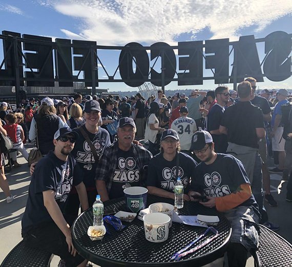 Gonzaga fans at Safeco Field for Mariners game.