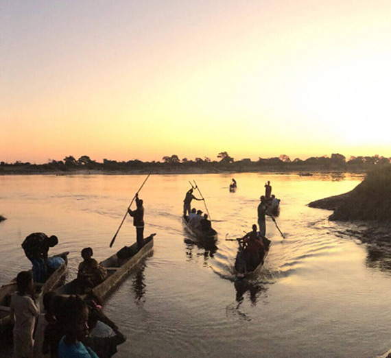 Boats at sunset in Zambia