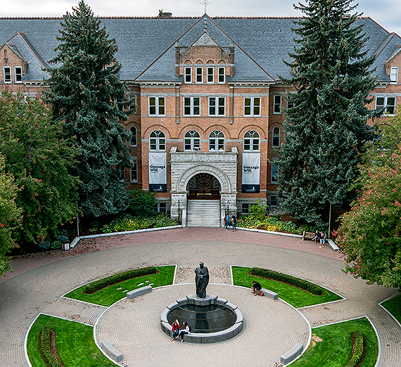 Aerial view of College Hall at Gonzaga University. GU photo