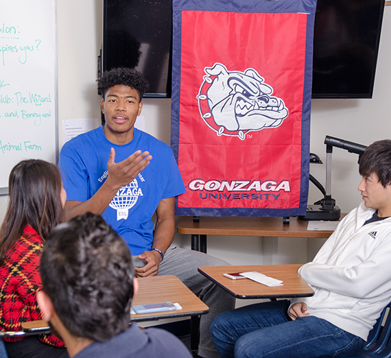 Rui Hachimura takes part in Q-and-A with fellow Gonzaga international students. Photo courtesy Jose Angel