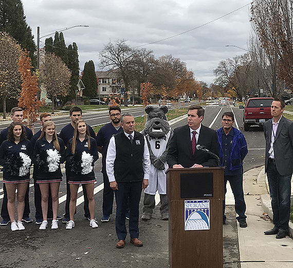 Gonzaga President Thayne McCulloh speaks at the ceremony to mark the reopening of Sharp Avenue on Friday, Oct. 26. GU photo