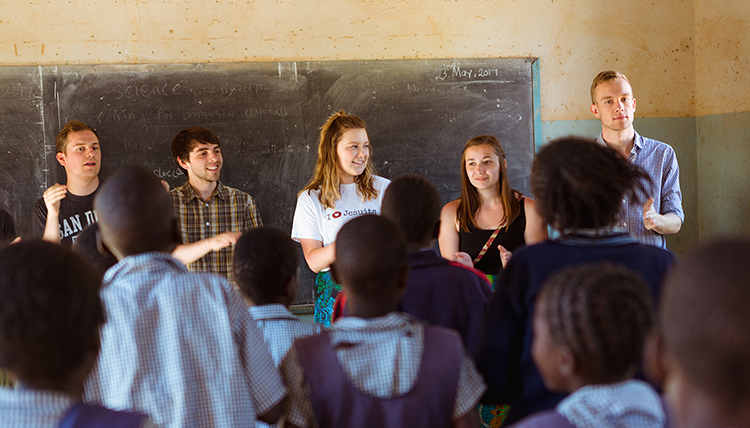 Gonzaga students in Africa teach music to schoolchildren