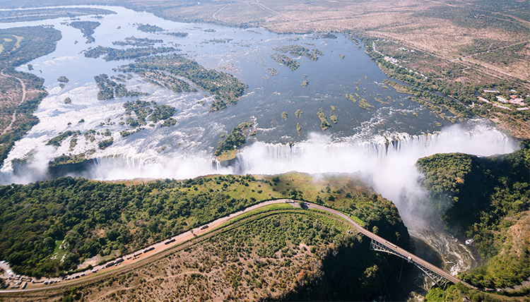 Drone view of Victoria Falls in Africa