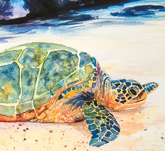 A painting of a sea turtle on the beach.