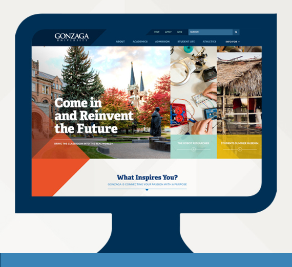 An image of Gonzaga's new website.