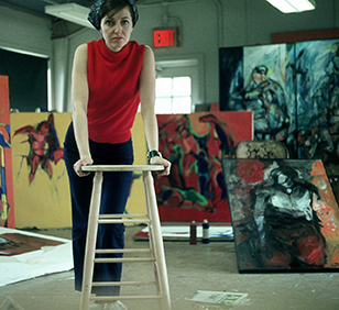 Artist Karen Laub-Novak in her studio. (Photo courtesy of Jana Novak)