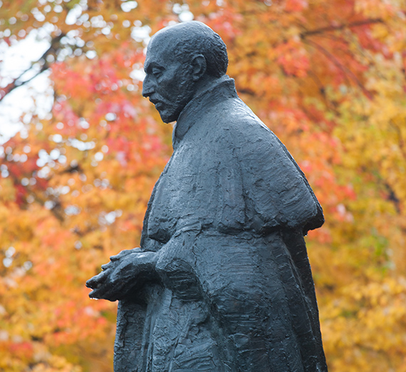 St. Ignatius of Loyola statue in front of College Hall. (GU photo)