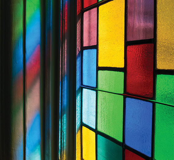 Colorful stained glass window at Dexter Ave Baptist Church, Montgomery Alabama