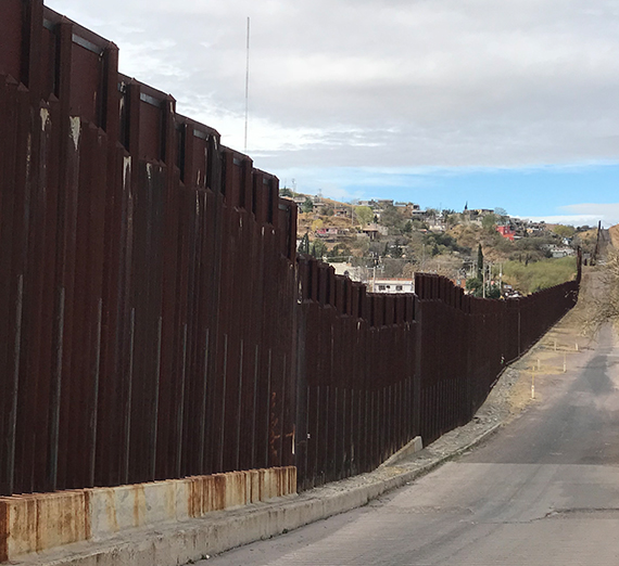 the border wall at Nogales, AZ and Nogales Mexico