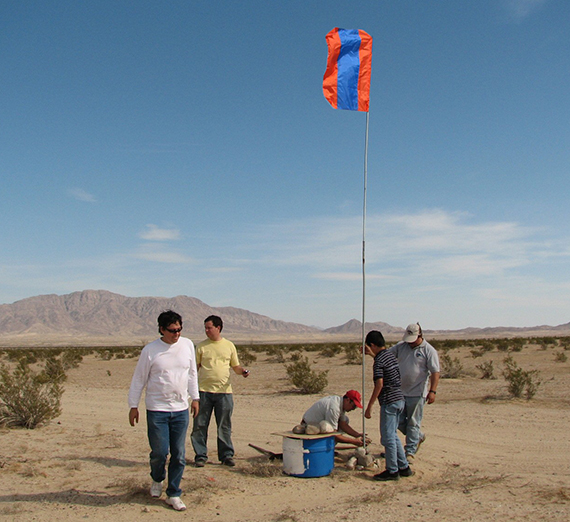 people install a water station in the desert near the CA - Mexico border