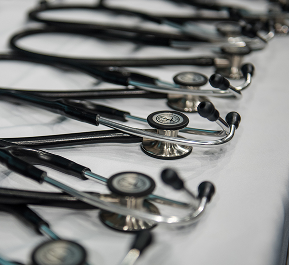stethoscopes on table
