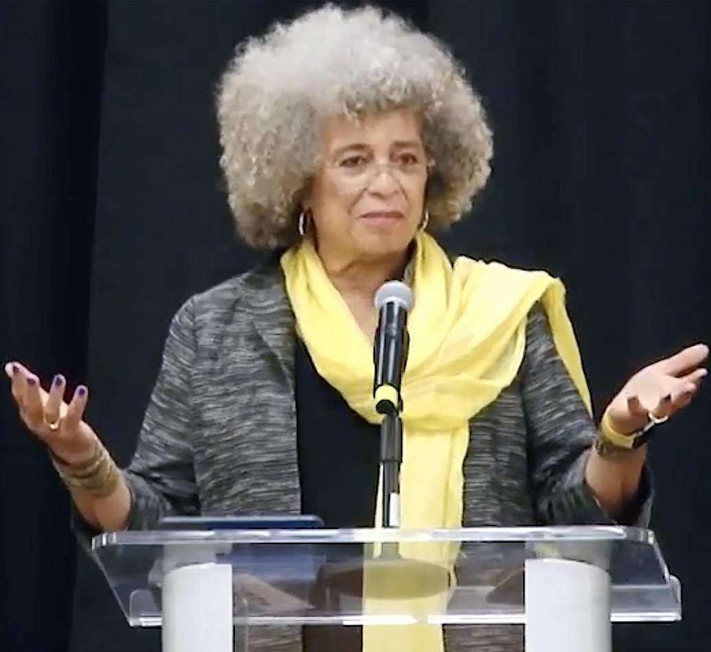 Angela Davis speaking at Gonzaga University on Oct. 25.