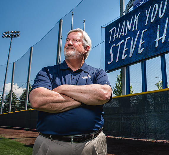 Coach Steve Hertz Stands in center field at Patterson Baseball Complex.