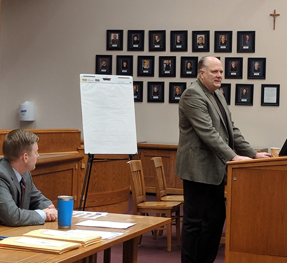 Jim and Marcus Sweetser addressing Gonzaga Law students
