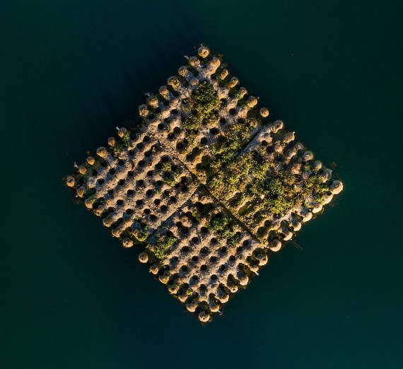 Square island in the middle of Lake Arthur.