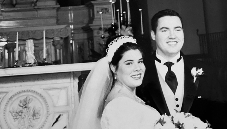 black and white image of wedding couple