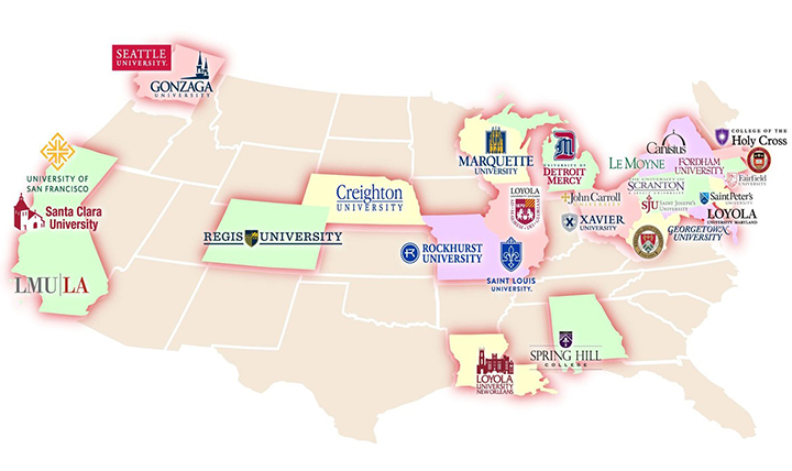 A map of the Jesuit universities offering reciprocal career services in the US.