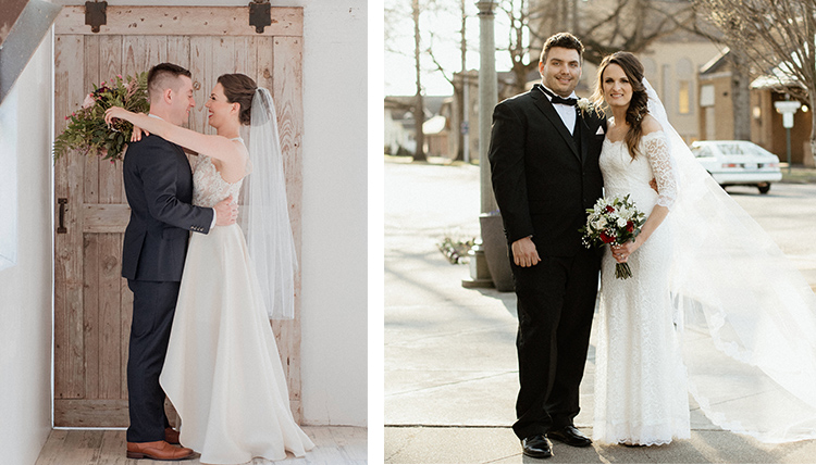 Two side-by-side photos of alumni couples - grooms in suits and brides in wedding dresses