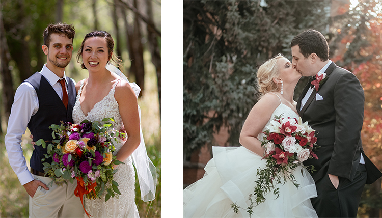 two separate couples both in outdoor wedding portraits