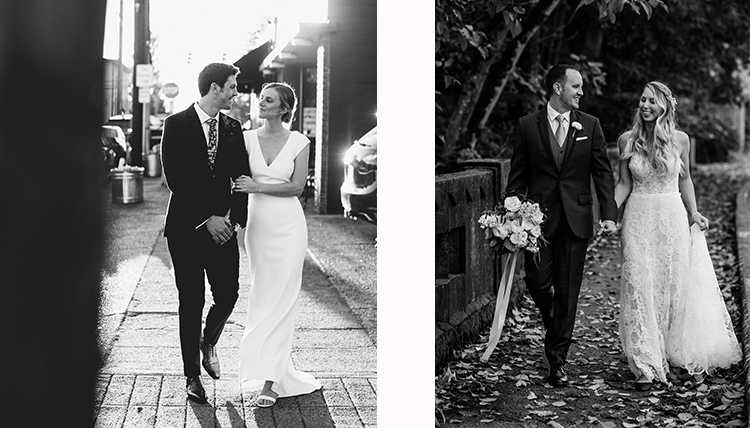 two couples, both in black and white outdoor images