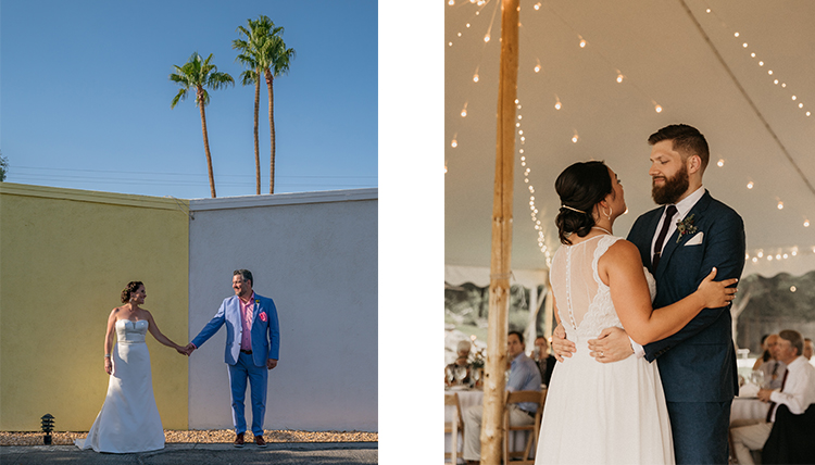 two separate couples in outdoor wedding portraits