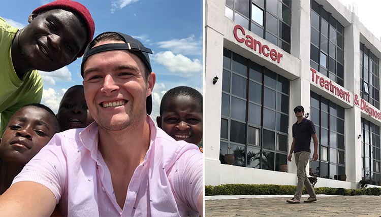young alum with several African friends, plus cancer center