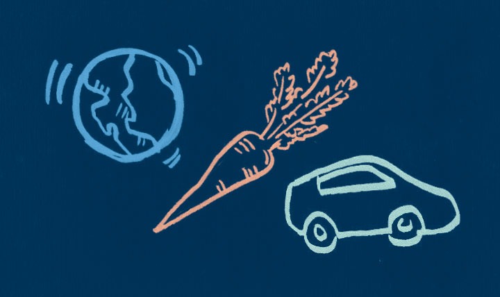 line drawings of globe, carrot and car