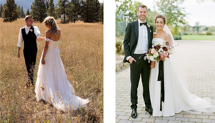 two separate photos of wedding couples
