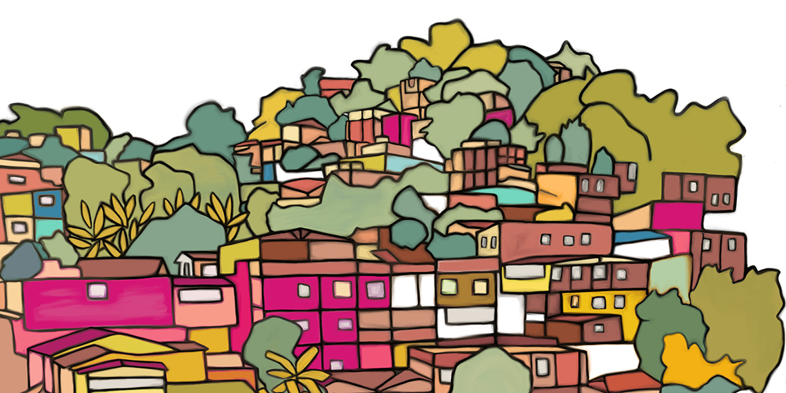 colorful illustration of Colombia village