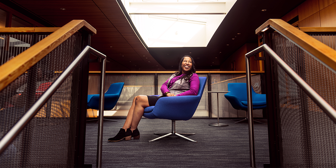 african american woman in chair