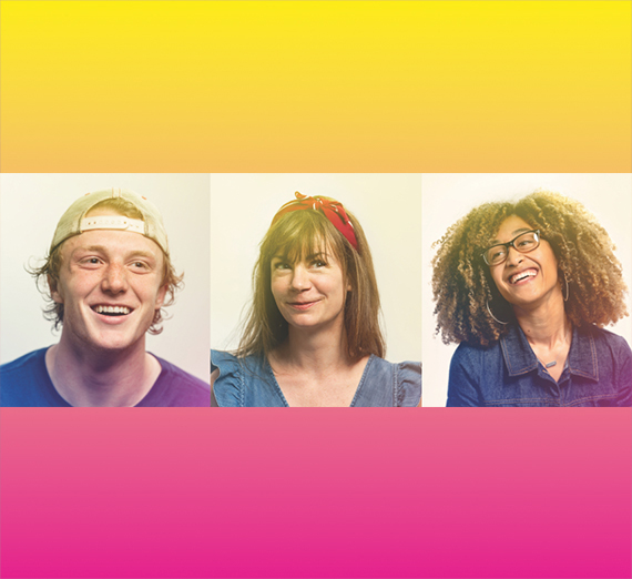 yellow to pink gradient with three people smiling